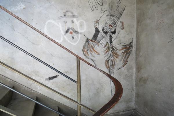 Graffiti im Treppenhaus der Opernwerkstätten